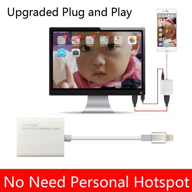 Actualización para iphone a hdmi tv hdtv video cable adaptador de cargador para iphone 5 5s 6 6 s 7 más a la tv para el ipad pro 4 5 air mini para tv