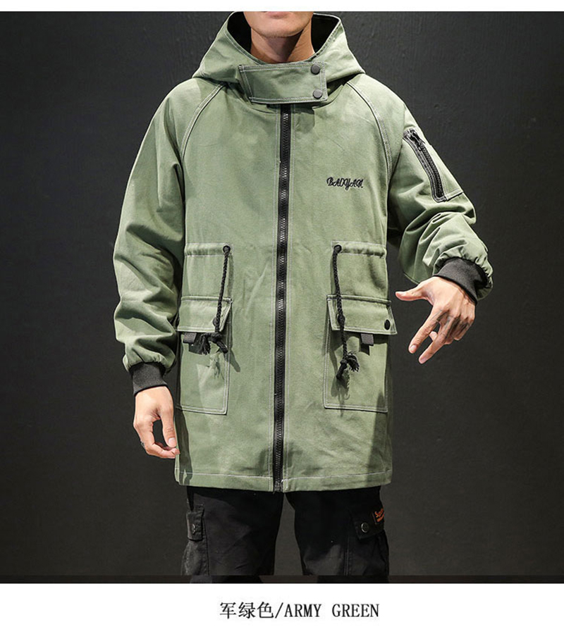 Army Green Trench Coat Men Korean Style Fashion Clothing Male Hooded Trench Coat Jacket   (2)