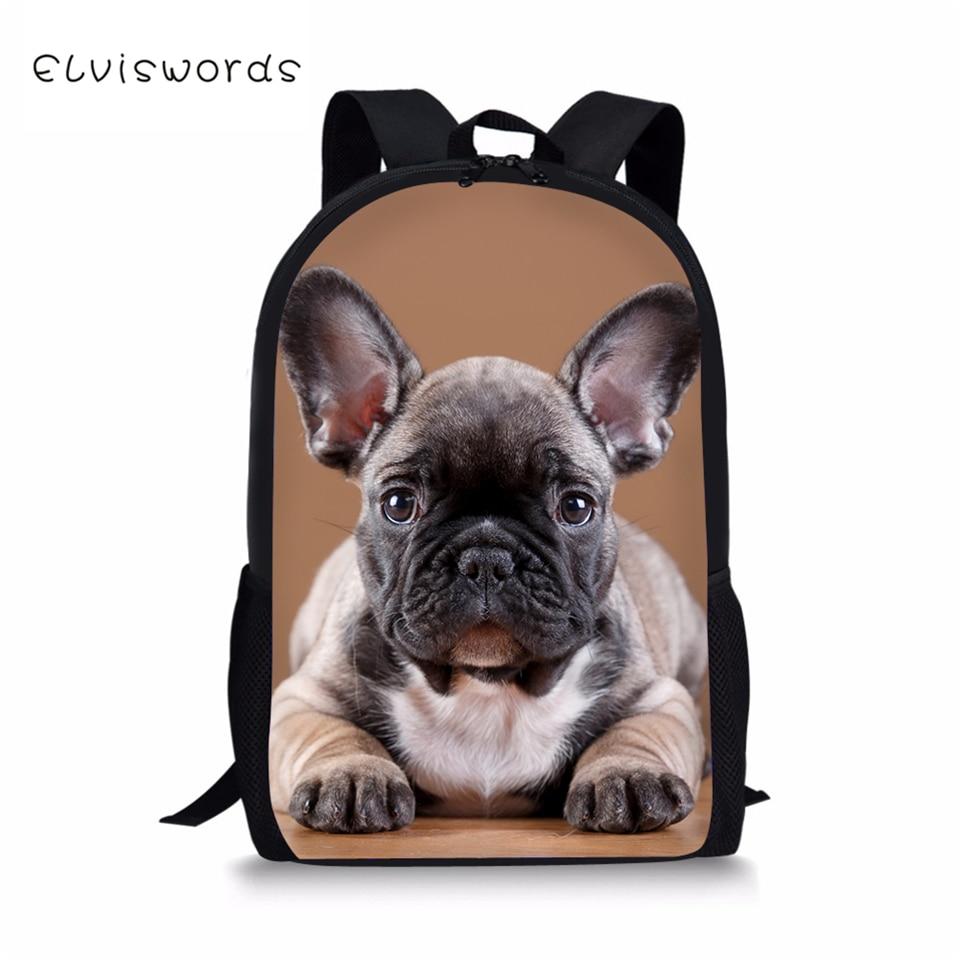 ELVISWORDS Fashion Kids School Bags Little Bulldogs Pattern Children Book Bag Travel Backpack Toddler Boys Girls School Backpack