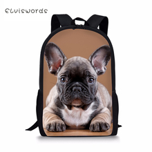 ELVISWORDS Fashion Kids School Bags Little Bulldogs Pattern Children Book Bag Travel Backpack Toddler Boys Girls