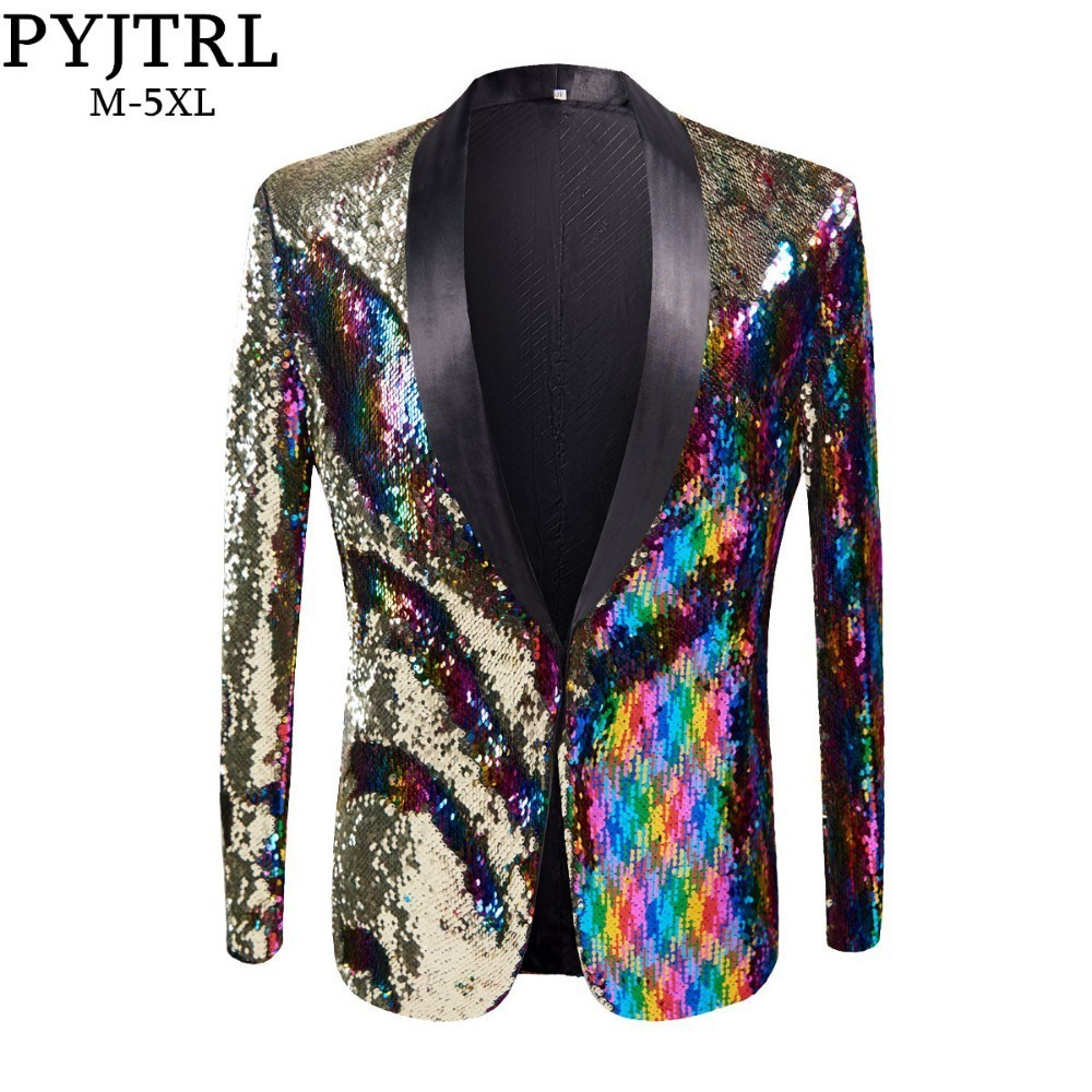 PYJTRL New Mens Stylish Gold Colorized Double-Color Sequins Blazer Nightclub Bar Stage Singer Costume Wedding Groom Suit Jacket