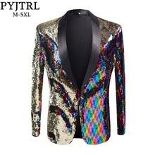PYJTRL New Mens Stylish Gold Colorized Double Color Sequins Blazer Nightclub Bar Stage Singer Costume Wedding Groom Suit Jacket