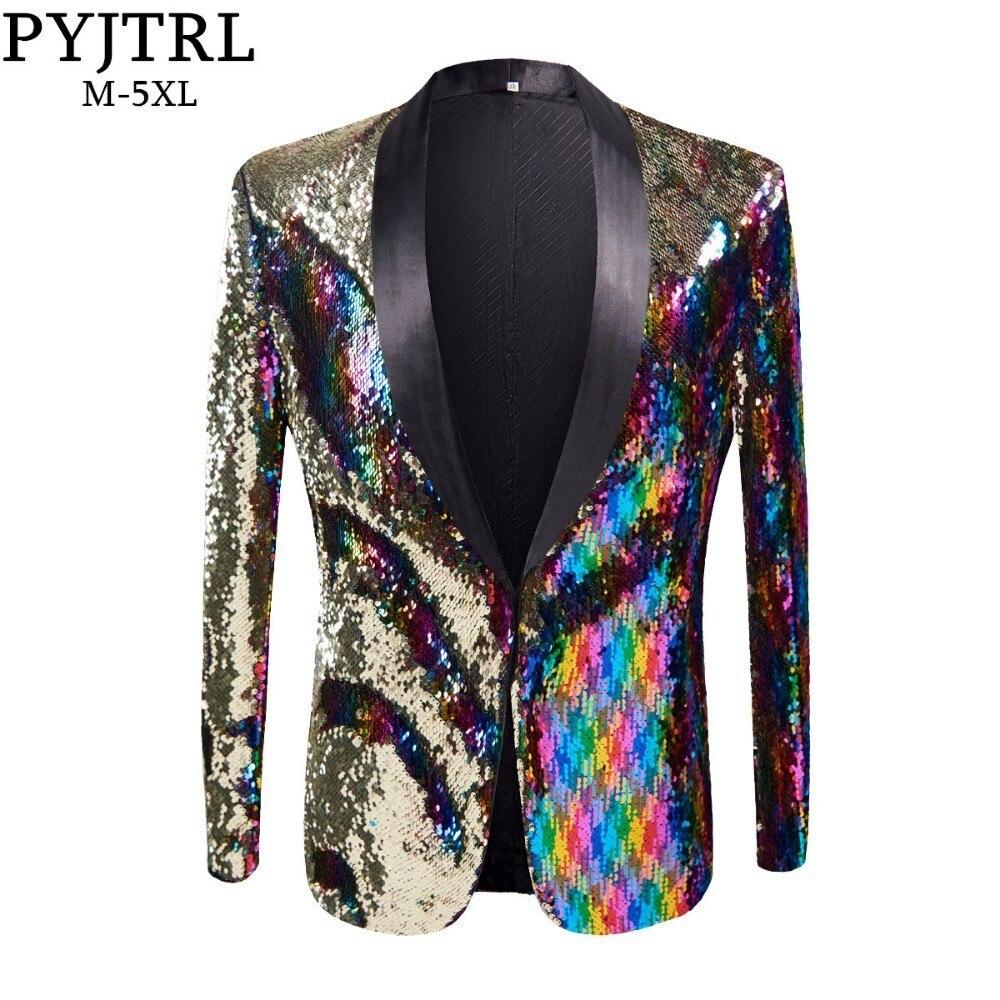 PYJTRL nouveau hommes élégant or colorisé Double-couleur paillettes Blazer discothèque Bar scène chanteur Costume mariage marié Costume veste