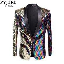 PYJTRL nowe męskie stylowe złoto kolorowane podwójne kolorowe cekiny Blazer klub nocny Bar etap kostium piosenkarza garnitur pana młodego ślub kurtka