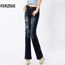 FERZIGE Women's Jeans with Embroidery Butterfly Partten Stretch Dark Blue High Waist Pants Bell Bottom Flare Jean Femme Mujer 36