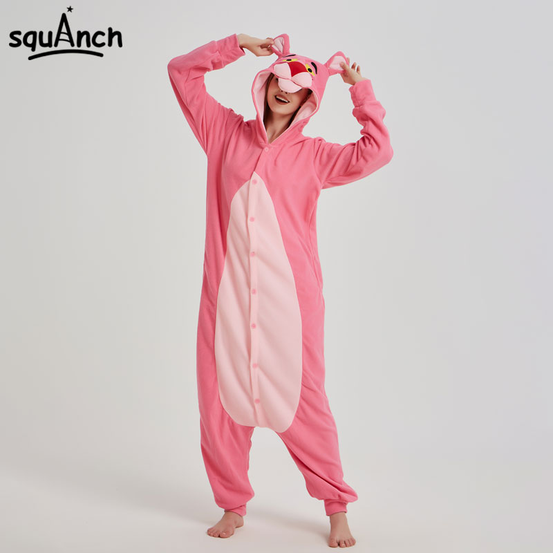 Pink Animal Kugurumi Anime Panther Onesie Pajama Polar Fleece Jumpsuit Funny Sleepwear Women Girl Festival Outfit Fancy Adult