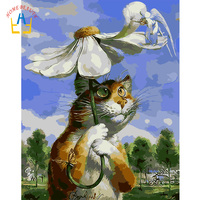 Frameless Flower Cat Animals DIY Painting By Numbers Hand Painted Oil Painting Wall Art Picture For