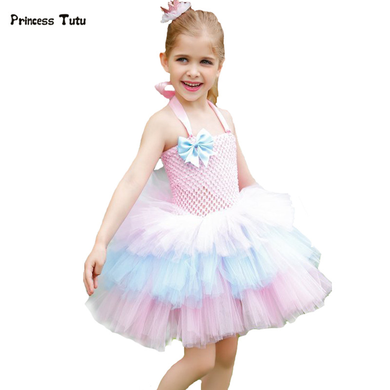 Girl Kids Candy Rainbow Layered Dresses Tulle Tutu Dresses Flower Girl Princess Birthday Party Pageant Wedding