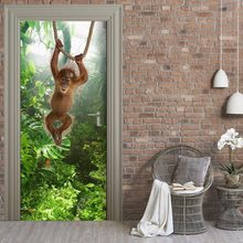 Monkey Chimpanzee Animals Jungle Door Stickers For Living Room Door Home Decor Vinyl Wall Decals Mural(China)