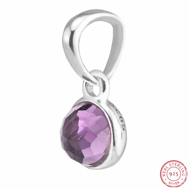 0c704530f 925 Sterling Silver Syntheti Amethyst February Droplet Necklace Pendant  Beads DIY Fit PANDORA Charms for Jewelry