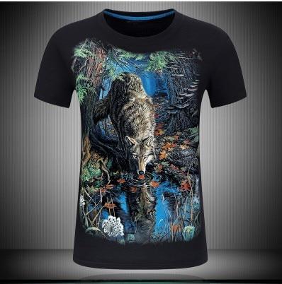 Plus Mens Cotton Hd 3D Digital Print Jungle Lion Male Loose Short Sleeves T-shirt Tees Tops Big Size Summer S~6XL