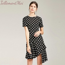 купить Women Vintage Polka Dot Dress Summer Elegant O Neck Short Sleeve Casual Office Lady Midi Long Dresses Vestidos по цене 2969.98 рублей