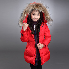 2016 New Down Coat Long Winter Fur Hooded Warm Outer Coats Regular Children Clothing Outerwear Baby Infant Girls Roupas Feminina