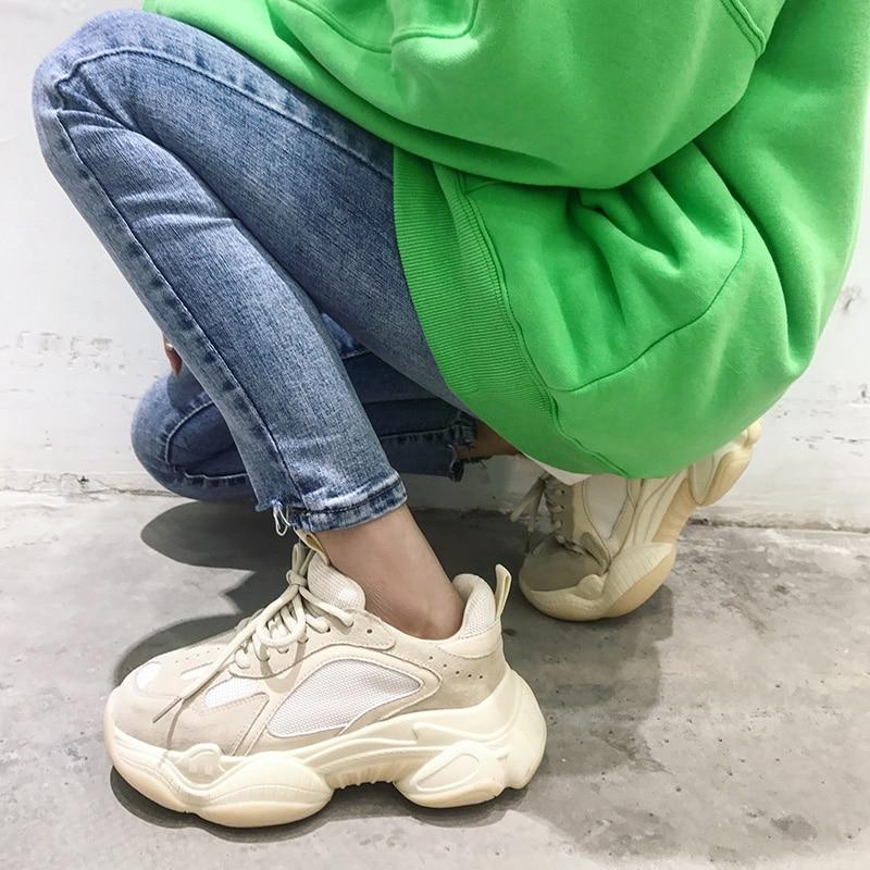 Chunky blanc Semelles Femme Confortable Décontracté Chaussure Cuir Rétro Sneakers Chaussures En Sale Semelle De Épaisse Papa À Véritable Compensées Femmes Beige yvbgIfY76m