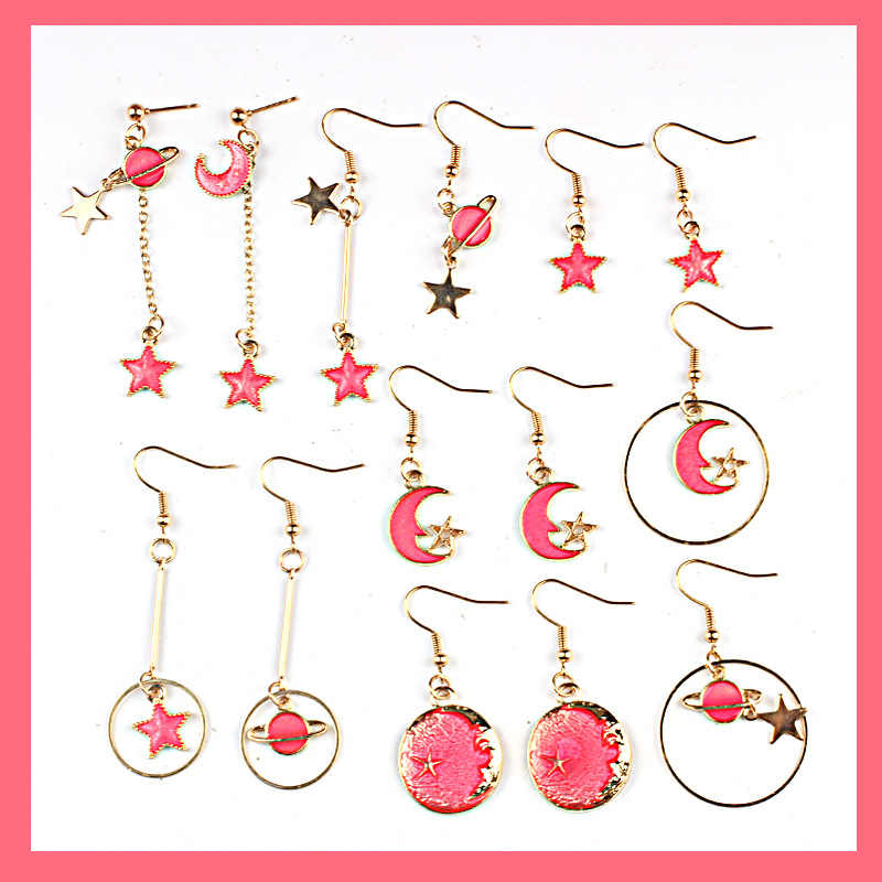 Korean Romantic Pink Enamel Drop Earrings Universe Planet Star Moon Asymmetric Dangle Earrings For Women Jewelry Female Gift