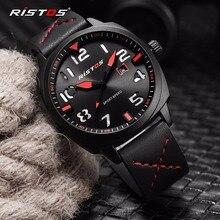 RISTOS Relogio Masculino часы Для мужчин модные спортивные Нержавеющая сталь Чехол Кожаный ремешок наручные часы, кварцевые наручные Бизнес наручные 9351