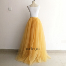 [Custom Made] 7 Layers 110cm Long Tulle Skirt Pleated Skirts Womens Wedding Bridal Bridesmaid Skirt Lolita Petticoat faldas saia