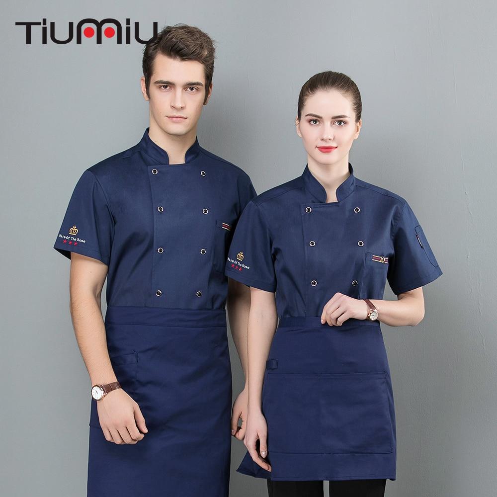 2019 TIUMIU Chef Jacket  Restaurant Embroider 3 Stars Crown Uniform Barbr Bakery Hotel Bake Cake Coffee Service Ropa De Cocina