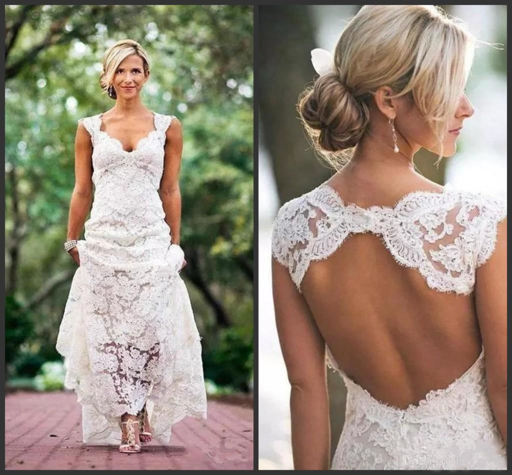 2018 New Full Lace Wedding Dresses Country Style Pluging V-neck Cap Sleeves Keyhole Back A Line Vintage Custom Made Bridal Gowns Choice Materials