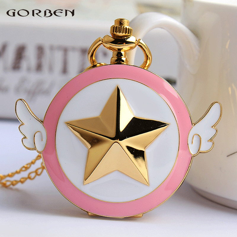 2017 New Golden Anime Star Wings Pocket Watch High Quality Lovely Cartoon Quartz Pocket Watch Chain Necklace Ladies Girl Gifts old antique bronze doctor who theme quartz pendant pocket watch with chain necklace free shipping