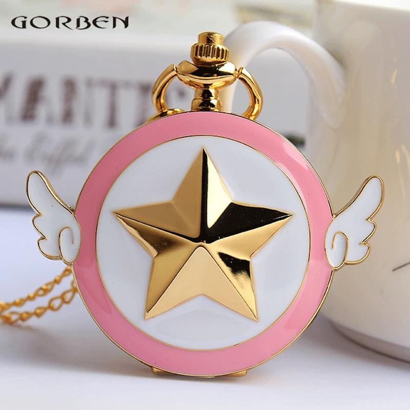 Japan Anime Cardcaptor Sakura Golden Pocket Watch Necklace Star Wings Pendant Chain Clock Women Girls Gift