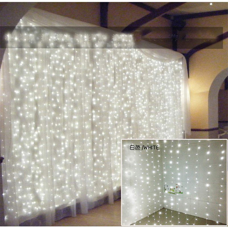 LED curtain lights string lighting 6*3 m New Year Christmas garland fairy wedding party garden indoor outdoor Home Decoration