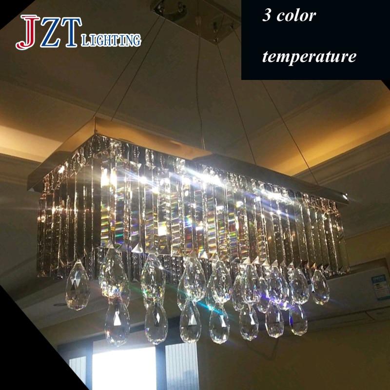 T Rectangular Luxury Modern Fashion Pendant Light LED Home Gary Crystal Lamps For Living Room Foyer