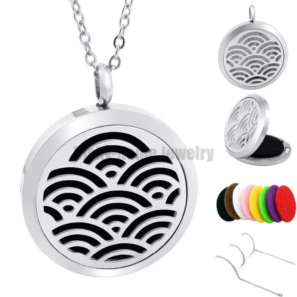 With Chain Gift  Water Ripples (30mm) Aromatherapy  Essential Oils Stainless Steel Diffuser Locket (Welcome Dropship)