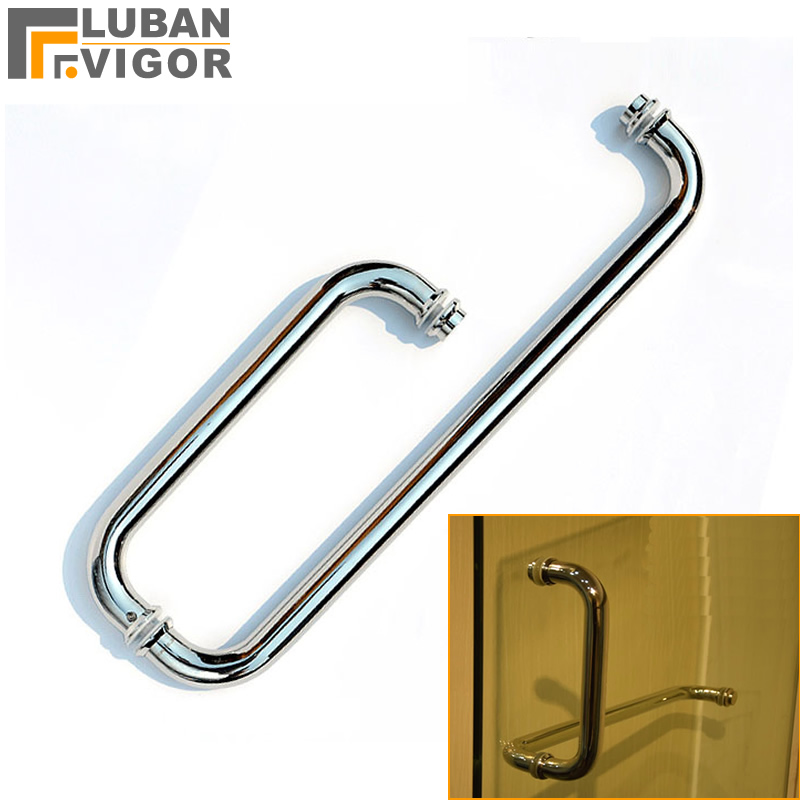 304 Stainless steel shower door handle, bathroom glass doors L-shaped handle,polished processing, Shower room accessories