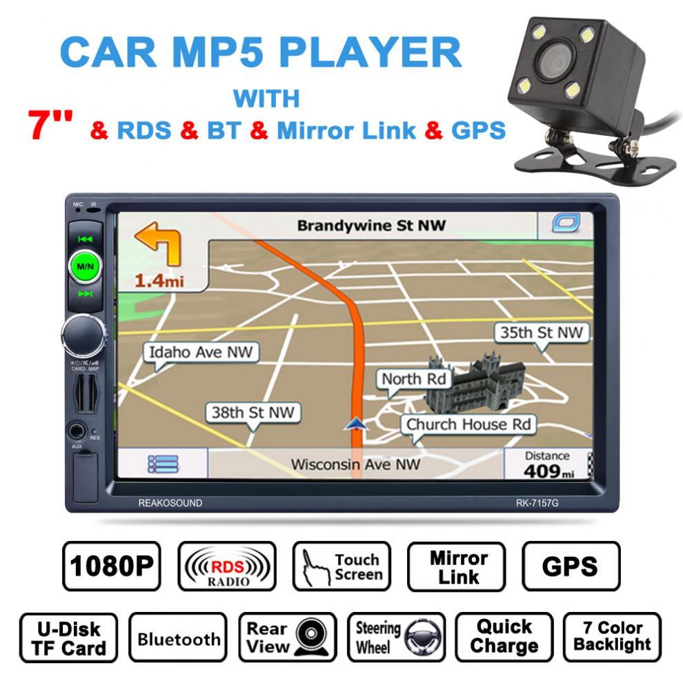 7 Zoll 2 Din Bluetooth Auto Multimedia Autoradio Mp5 GPS Navigation AM/FM/RDS Radio mit Rückansicht kamera