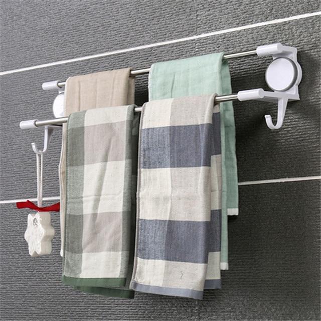 Mrosaa Bathroom Towel Holder Waterproof Double Stainless Steel Rod Ful Suction Cup Washcloth Rack Hanger