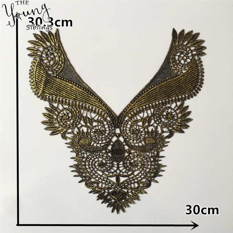 Encaje de alta calidad escote Venecia apliques Collar bordado reparación, costura tela DIY arte decorativo Ropa Accesorios