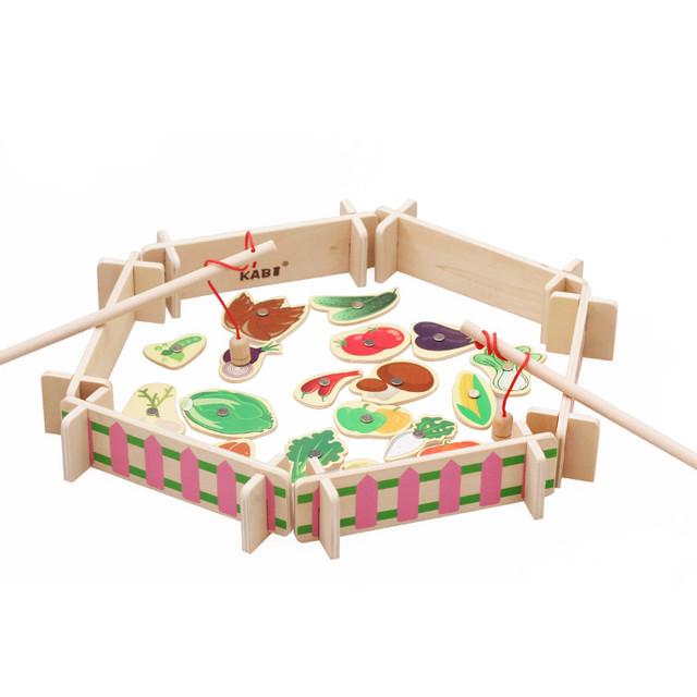 Kits Modelo de Construção de Brinquedos Educacionais do bebê Feliz Fazenda Animais de Fazenda brinquedo de Pesca Magnética De Madeira Brinquedos Simulação de Presente Blocos de Construção