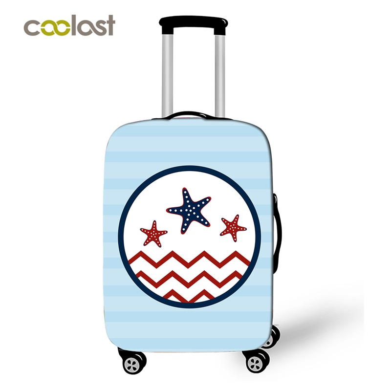 Compass Suitcase Covers Sea Boat Print Trolley Luggage Protective Cover Elastic Case Bag Portable Voyages Travel Accessories