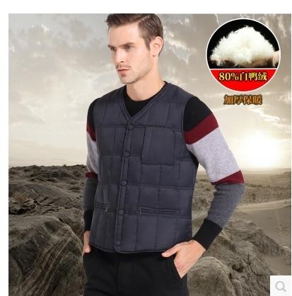Hot!!Free shipping!!!!!Winter quinquagenarian men's clothing down vest plus velvet vest male innerwear thermal vest