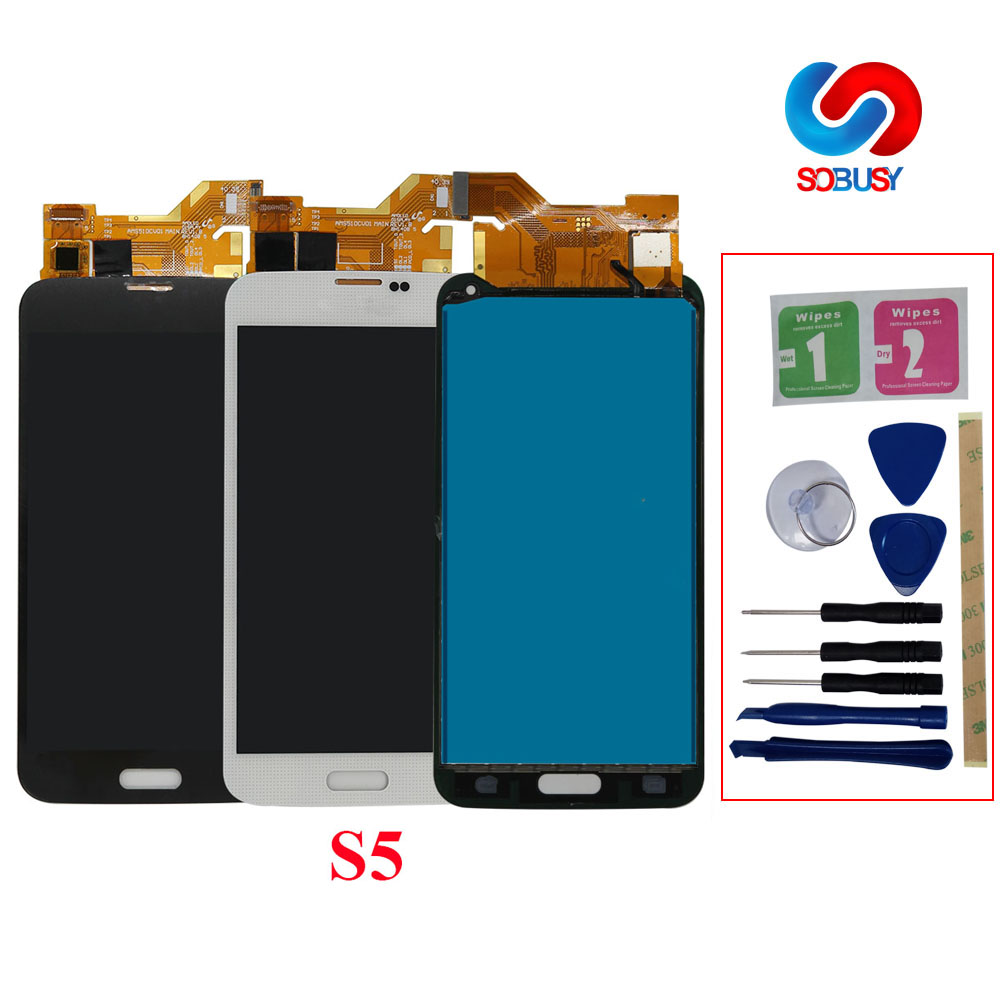High LCD <font><b>Display</b></font> For Samsung S5 I9600 <font><b>SM</b></font>-G900 G900A <font><b>G900F</b></font> G900P G900T <font><b>G900F</b></font> LCD Touch Screen Digitizer Assembly Replacement Part image