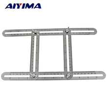 1pc Stainless steel four folding feet Four Sided Ruler Measuring Instrument Multi Angle Template Tool Protractor