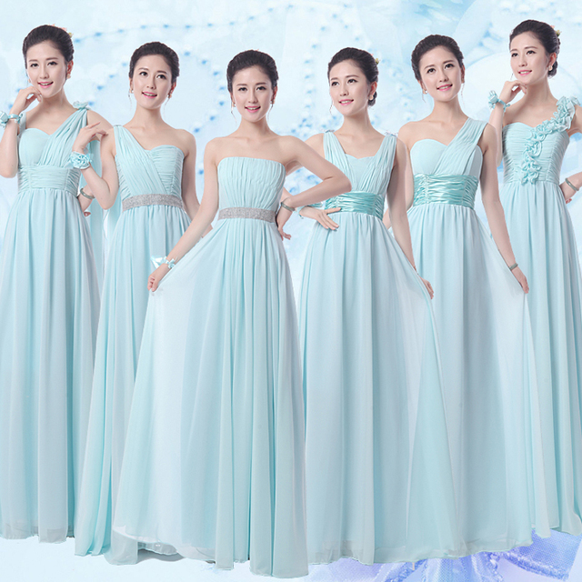 2017 New Bridesmaid Dresses Plus Size Stock Under 50 Long Light Blue Chiffon Graduation Party