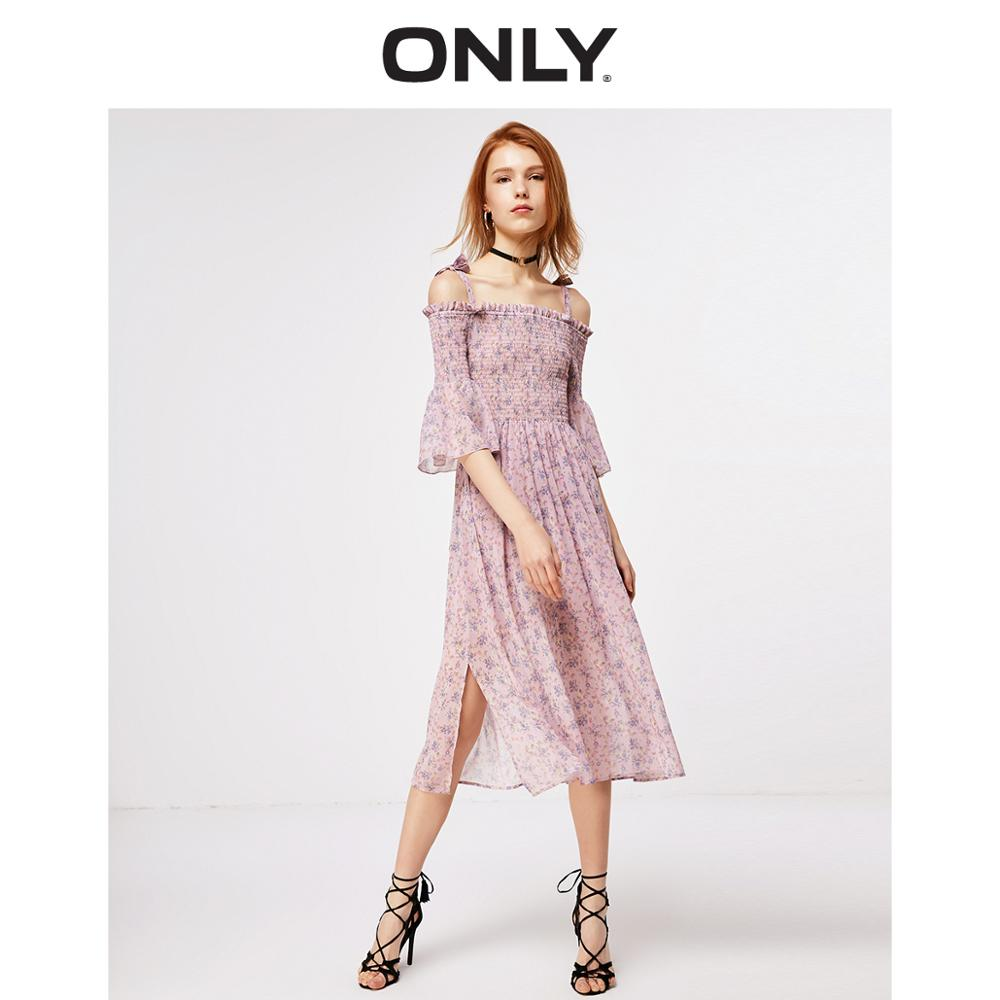 ONLY A-lined Floral Chiffon Dress | 119107685