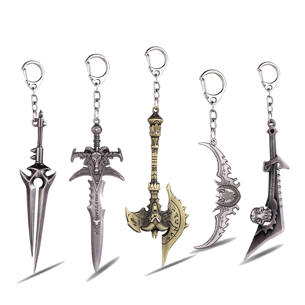 Hot Game Keychain Frostmourne Doomhammer Warglaive Of Azzinoth Ashbringer Key Ring Holder Chaveiro Key Chain Pendant Jewelry