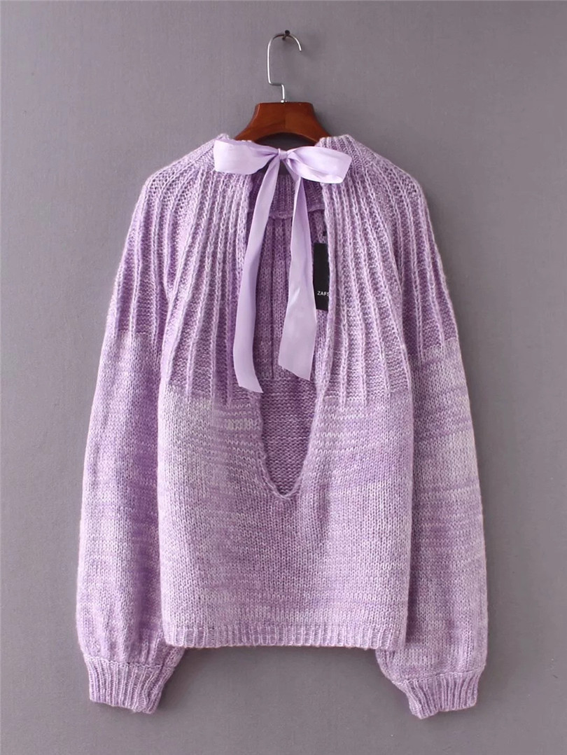 Pull Abierto Las Suéteres Acrílico up Nuevo Equipo Punto Over rojo 2018 Jumper Gris Y Lace púrpura Suéter De Volver Mujeres ACFxZqff