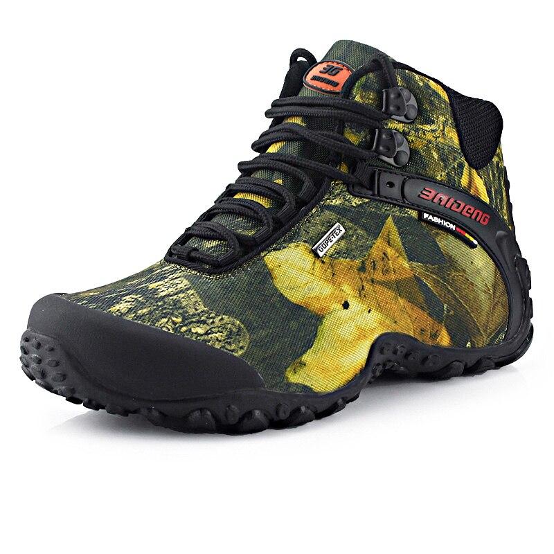 timeless design acc52 74348 US $40.59 |Neueste Männer Wanderschuhe Wasserdicht Leinwand Outdoor Schuhe  Anti rutsch bergsteigen Angeln Stiefel Turnschuhe Sport jagd Schuhe in ...