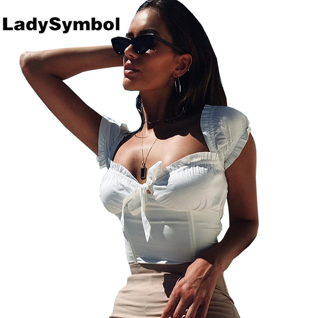 a759b907c9a28 LadySymbol 2018 Off Shoulder Top White Women Tank Top Elegant Ruffle Summer  Bow Casual Slim Sexy Camis Cute Sexy Crop Top Girl