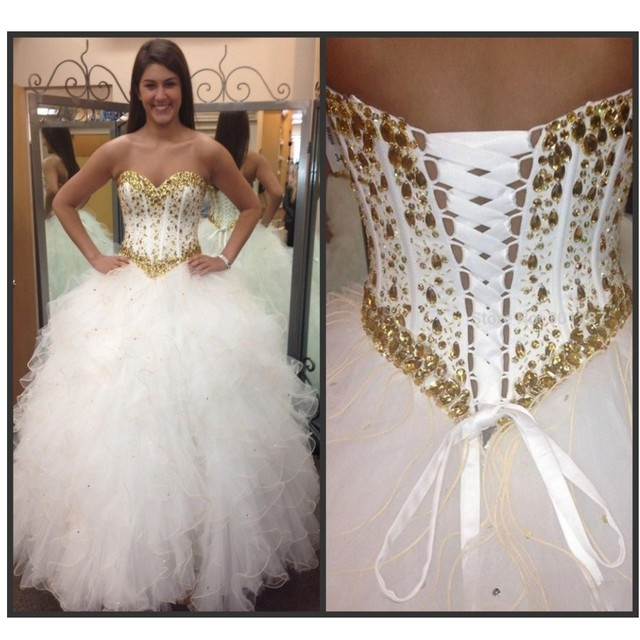 Quinceanera Dress Ball Gown Sweet 15 Girls Prom Party Dresses White with  Gold Crystal Rhinestones Ruffled Tulle Corset Back b9ebdb6a9936