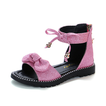 Girls Shoes Flat Heel Sandals Kids Spring Summer 2019 Little Princess Dress Bow Fashion For Teenage