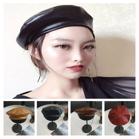f31cef5a03447 Vintage Faux PU Leather Beret Hat Women Men Autumn Winter Flat Cap Solid  Black Coffee Camel Wine Red Navy Fashion French Cap-in Berets from Apparel  ...