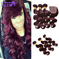 7A Peruvian Virgin Hair With Closure Top Lace Closure And Bundles 99j Body Wave Human Hair 3 Bundles With (4x4) Lace Closure