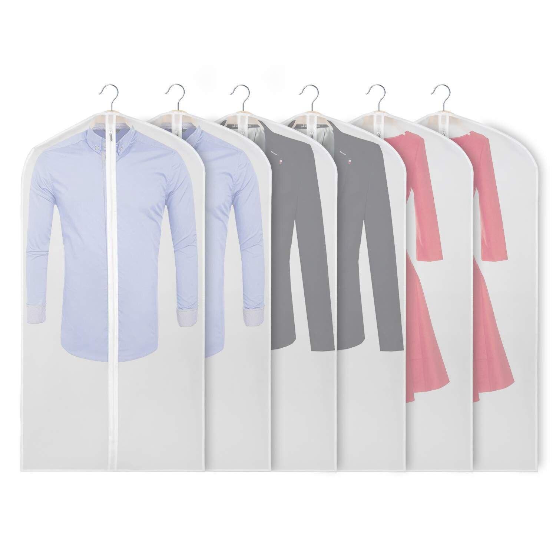 Sacs à vêtements pour le stockage 48 pouces housse de costume anti-poussière avec fermeture à glissière robuste (lot de 6) pour robe manteaux vestes pull placard St