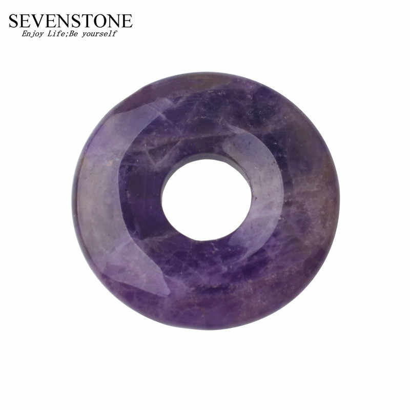 SEVENSTONE Natural Stone 40MM Quartz Buckle Donut Coin Reiki Healing Pendant Necklace Charms Men Healing Reiki Pendant for Women