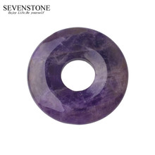 SEVENSTONE Natural Stone 40MM Quartz Buckle Donut Coin Reiki Healing Pendant Necklace Charms Men Healing Reiki Pendant for Women dreamusic reiki brightness healing